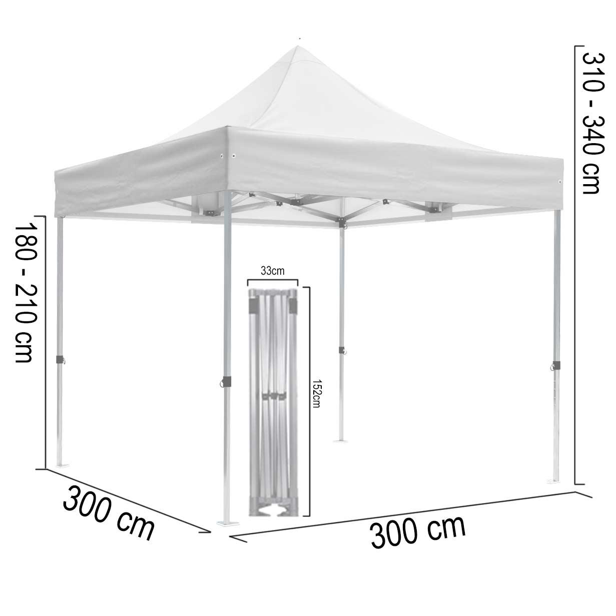 Faltpavillon-Abmessungen-Hexa50